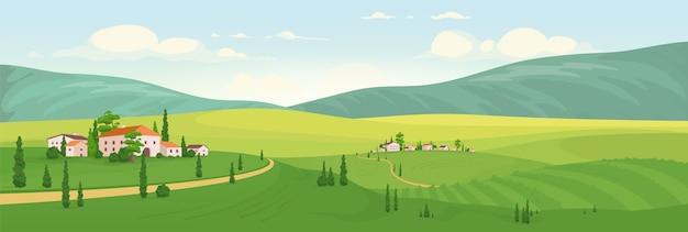 목가적 인 농촌 풍경 평면 컬러 일러스트입니다. 이탈리아 포도밭과 배경에 녹색 언덕이있는 2d 만화 풍경. 사이프러스 나무와 집이있는 유럽 시골보기