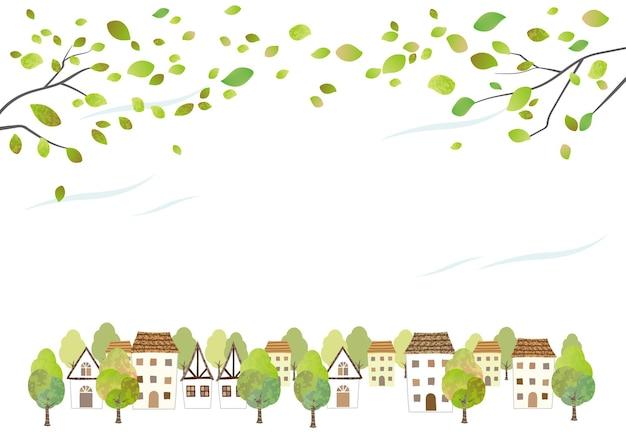 白い背景で隔離の若い葉を持つ牧歌的な水彩画の町並み。テキストスペースとベクトルイラスト。