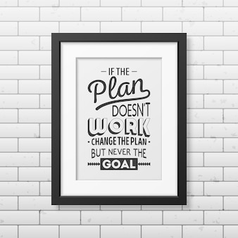If the plan does not work, change the plan, but never the goal