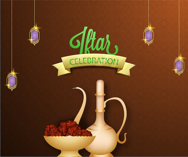 Iftar celebration concept with dates and drink