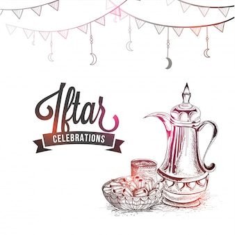 Iftar celebrations concept with traditional jug, dates and stylish text, pencil sketch des
