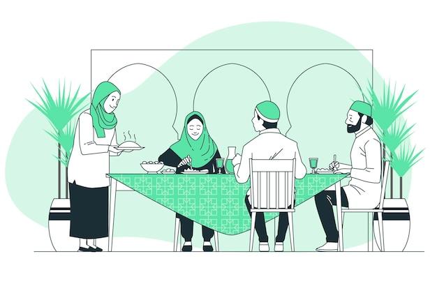 Illustrazione di concetto di cena iftar
