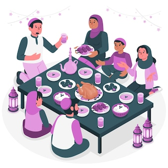 Iftar dinner concept illustration