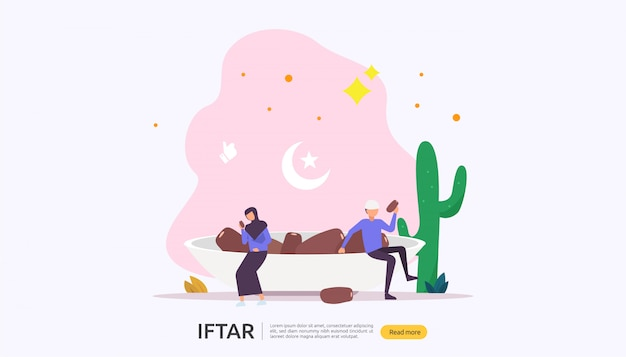 Iftar eating after fasting feast party concept
