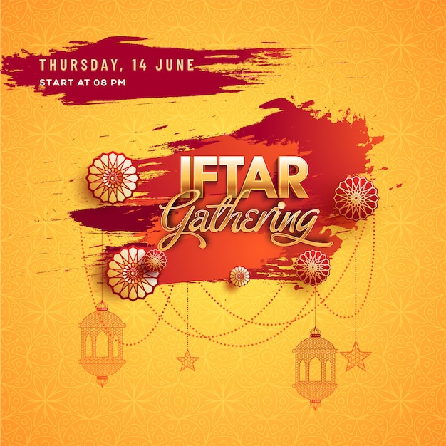 Iftar gathering inviatation card design with hanging lanterns, floral on yellow background