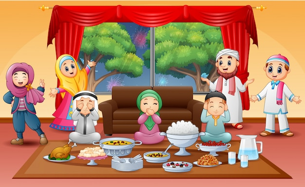 Iftar on holy month of ramadan with muslim family