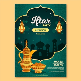 Iftar invitation template concept