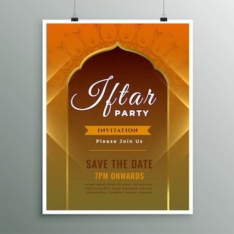 Iftar invitation template in islamic design style