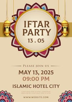 Iftar invitation template in paper style