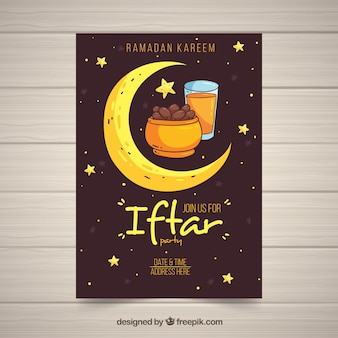 Iftar invitation template with moon and dates