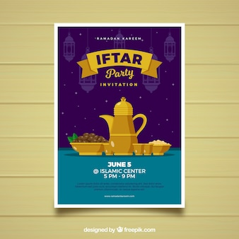 Iftar party invitation card design with hanging lamps vector free iftar invitation with food and tea in flat style stopboris Gallery