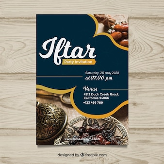 Iftar invitation with food and tea in flat style