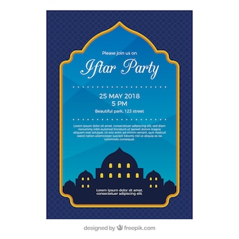 Iftar invitation with mosque silhouette in flat style