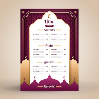 Iftar menu template in paper style