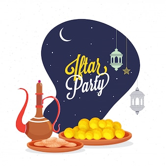 Iftar party celebration concept with stylish text, lanterns, and food stuff.