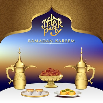Iftar party celebration foods with teapot set and bowl of dates on dinner table.