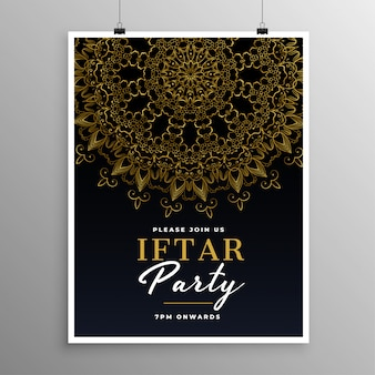 Iftar party celebration invitation template with mandala design