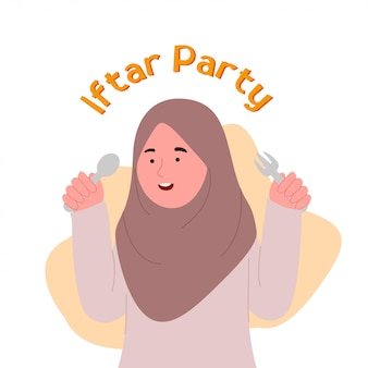 Iftar party cute little hijab girl holding spoon and fork