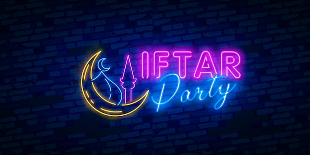 Iftar party festive illustration design template in modern neon style, muslim holiday of holy month ramadan karim.