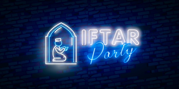 Iftar party festive in modern neon style, muslim holiday of holy month ramadan karim.