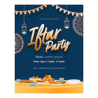 Iftar party flyer design with delicious foods and hanging lit lanterns on blue