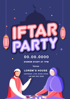 Iftar party flyer design with event details and hanging lanterns on blue silhouette mosque background.