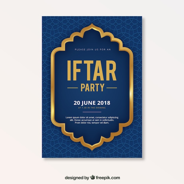 Iftar party flyer with pattern