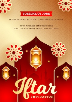 Iftar party invitation card design with golden illuminated lante