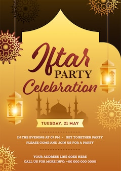 Iftar party invitation card with hanging lanterns, and mosque silhouette on brown and golden background.