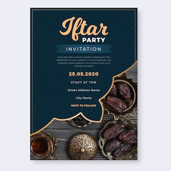 Iftar party invitation flat design
