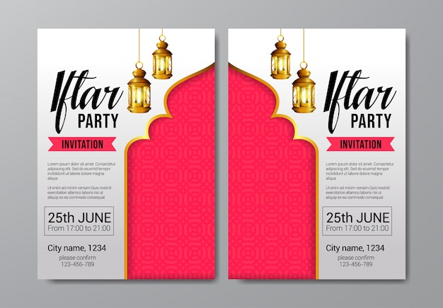 Iftar party invitation flyer template