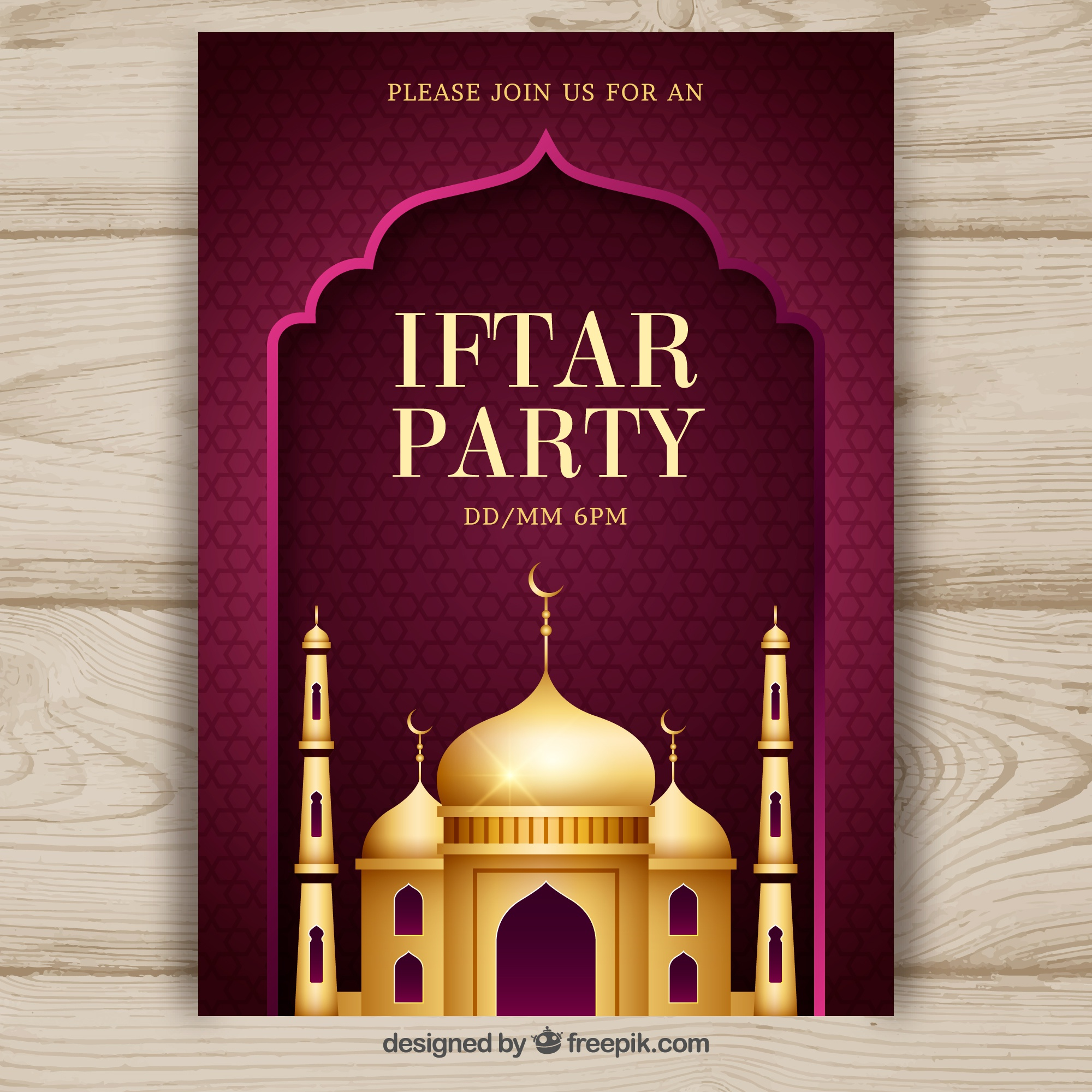 Iftar party invitation with golden mosque