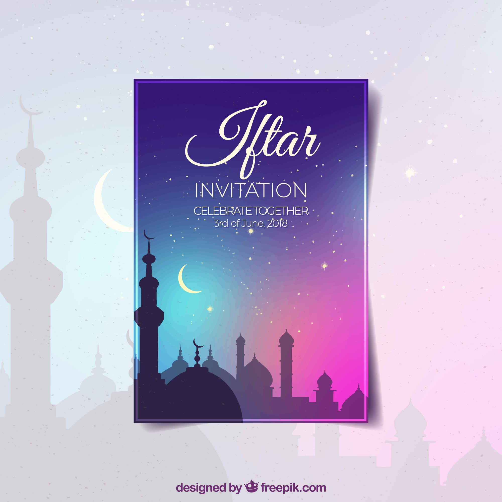 Iftar party invitation with gradient sky