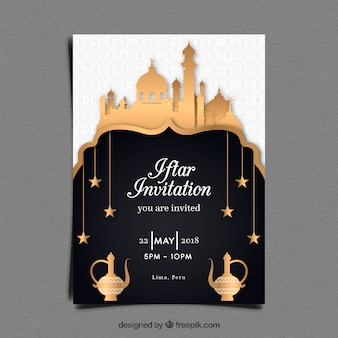 Iftar party invitation with mosque in golden style