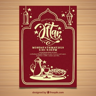 Iftar party invitation with tea in hand drawn style