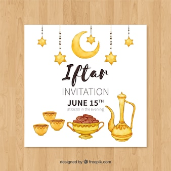 Iftar party invitation with tea products in watercolor style