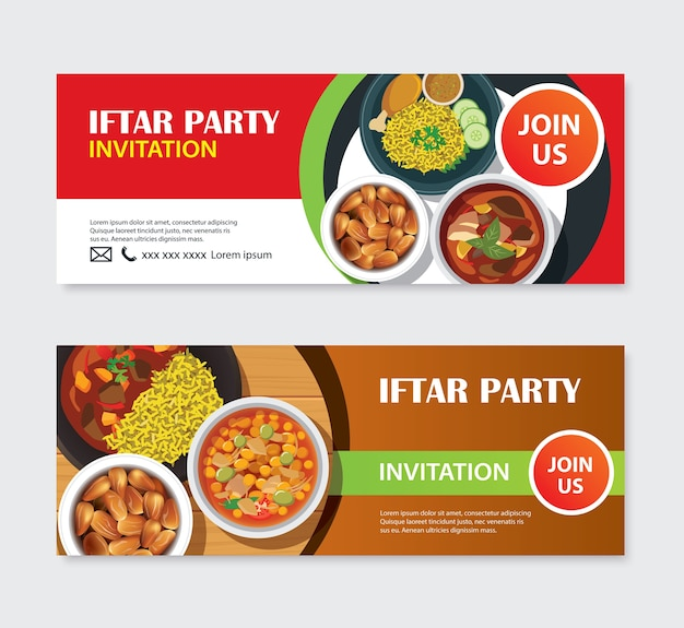 Iftar party invitations greeting card and banner Premium Vector