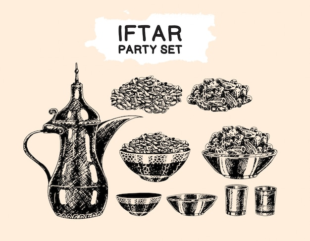 Iftar party islamic theme set hand drawing style element