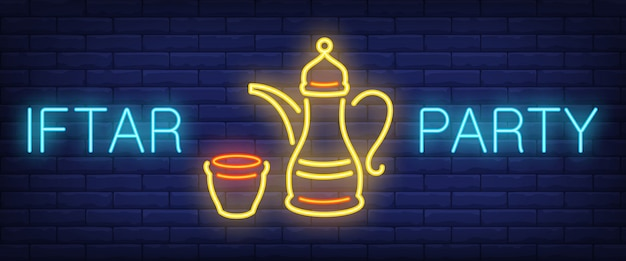 Iftar party neon sign. glowing lettering and oriental tea pot