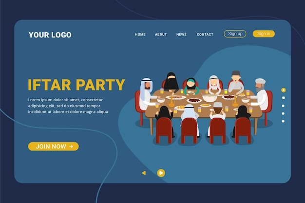 Iftar party with family during ramadan month landing page template