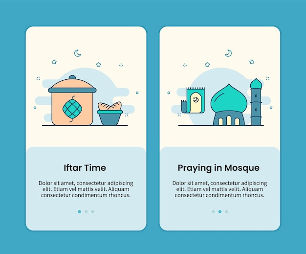 이프 타르 시간과 모스크에서기도하는 모바일 페이지 세트