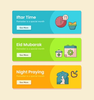 Iftar time eid mubarak night praying for banner template with dashed line style vector design illustration