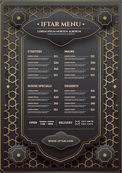 Iftar vertical menu template in paper style