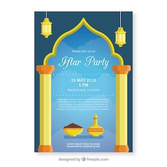 Приглашение iftar с чайником и чаем в плоском стиле