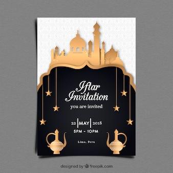 Приглашение партии iftar с мечетью в золотом стиле