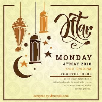 Приглашение партии iftar с лампами в ручном стиле