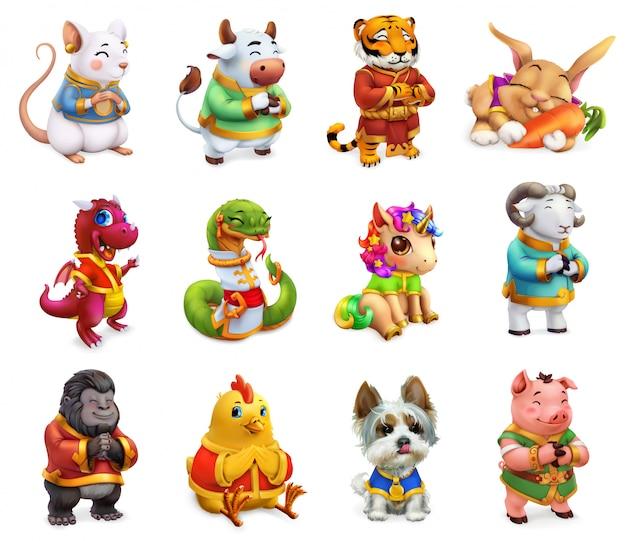 中国の黄道帯、ラット、牛、虎、ウサギ、ドラゴン、ヘビ、馬、羊、猿、鶏、犬、igの変な動物。中国のカレンダー、3 dアイコンセット