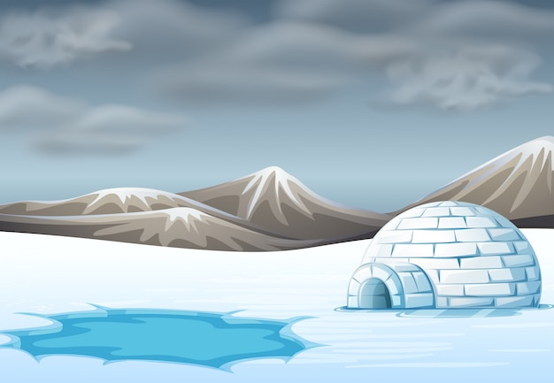 Igloo in cold terrain