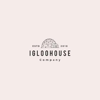 Igloo house logo hipster retro