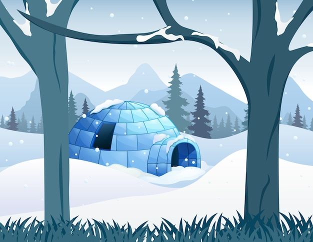 An igloo house in snowy forest illustration